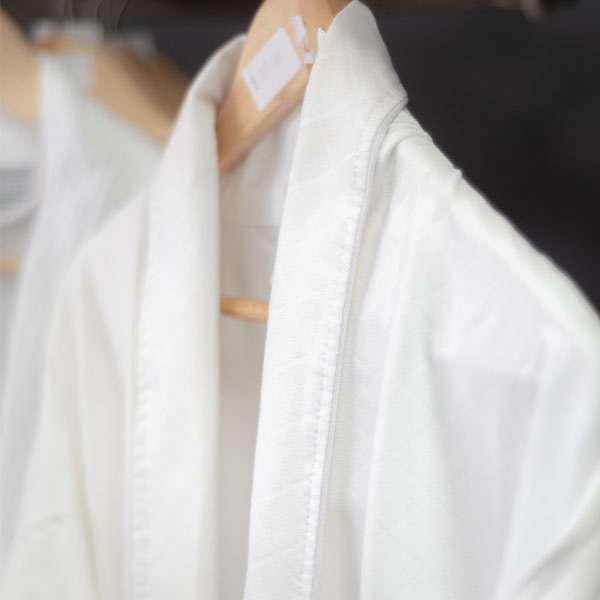Bathrobe - Microfibre Check White Polyester Alliance