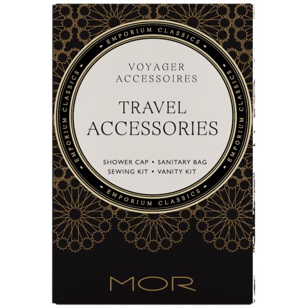 All In One Accessory Box - Shower Cap, Hair Tie, Sanitary Bag, Sewing Kit & Vanity Kit Mor Snow Gardenia