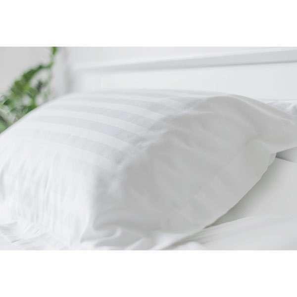 Pillowcase Satin Stripe White 155Gsm 60/40 Cotton Polyester
