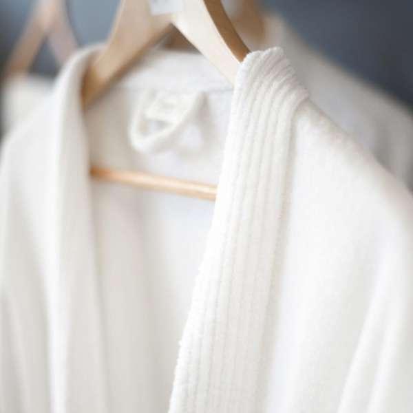 Bathrobe - Velour Kismono White 100% Cotton Otex